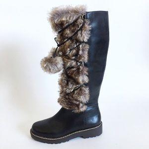 Land's End Faux Fur Trim Tall  Lace Up Boots